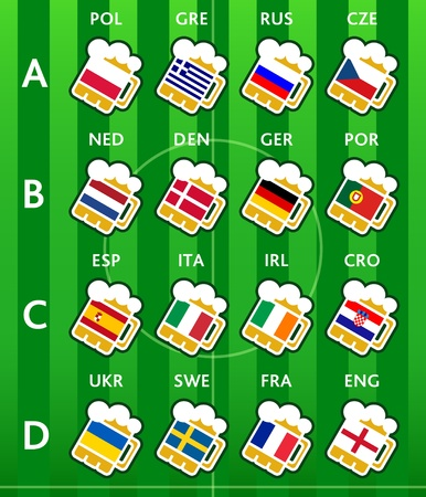 Beer glasses with national flags at soccer Europe 2012 teams Vector