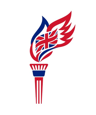 bandera de reino unido: Antorcha con la estilizada bandera de Reino Unido agitar la llama