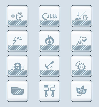 Floor covering special characteristics icon-set Vector