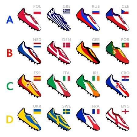 Soccer shoes in national flag colors at Europe 2012 Vector