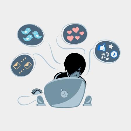 Shy emo boy into social media networks Vector