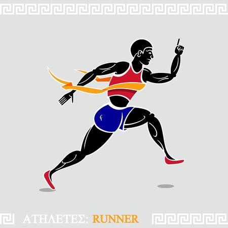 running track: Moderne runner gestileerde volgens oude Griekse kunst Stock Illustratie