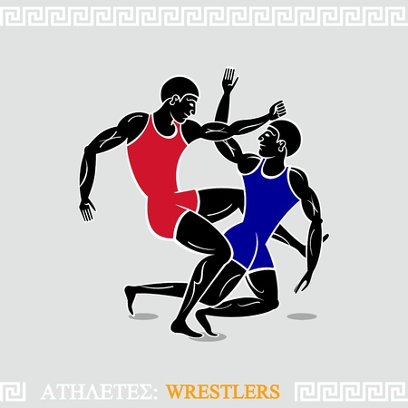 wrestlers: Greek art stylized free-style wrestlers