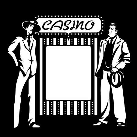 gangster with gun: Los tipos duros mafia en el cartel del casino en blanco Vectores