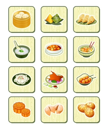 fried noodles: Colorful realistic chinese food icons over bamboo buttons
