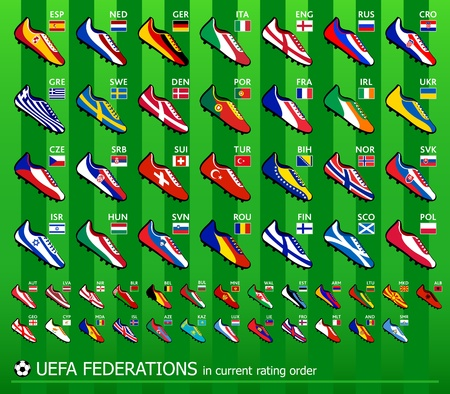 Soccer shoes in national flag colors for all European team Vector