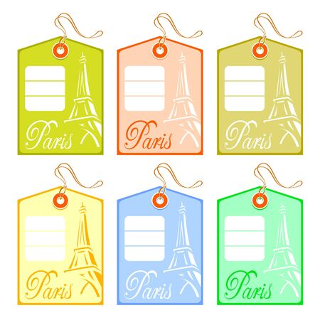Colorful string price tags for Paris travellers Vector