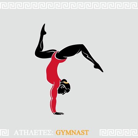 Греческое искусство стилизованная рука сбалансированных гимнастка женщина Иллюстрация