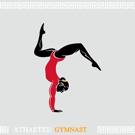 Greek art stylized arm-balanced gymnast woman Vector