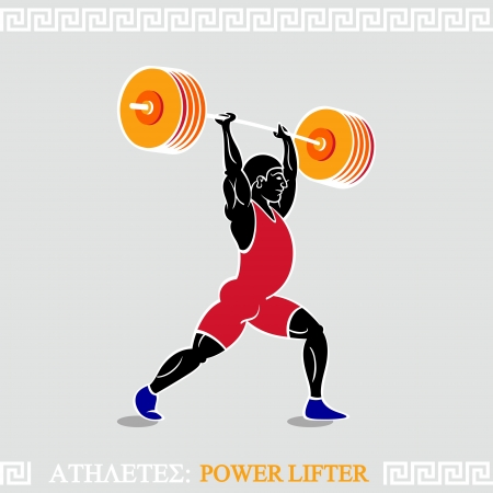 lift hands: Greek art stylized heavy weight power lifter Illustration