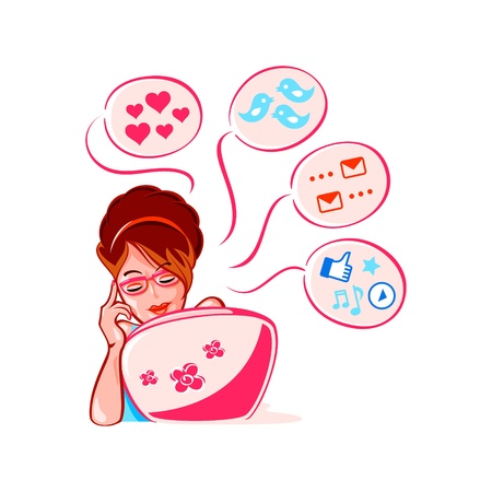 media love: Cheerful young girl into social media networks Illustration