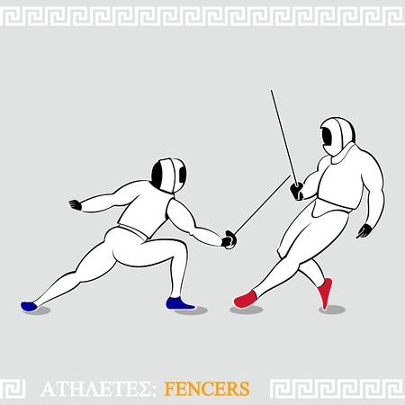 fencing: Greek art stylized fencers in protection uniform