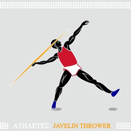 lanzamiento de jabalina: El arte griego lanzador de jabalina estilizada en la acción Vectores