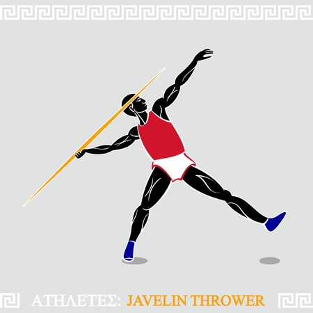 javelin: Greek art stylized javelin thrower in action