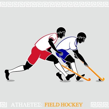 polo player: Greek art stylized field hockey players