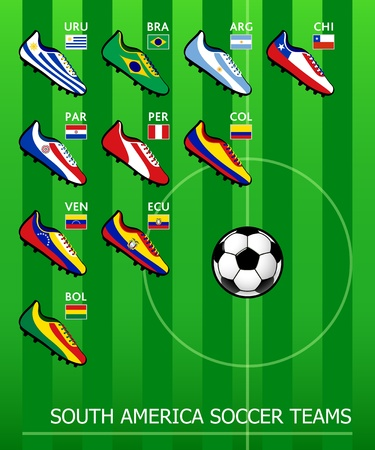 South American soccer teams Vector