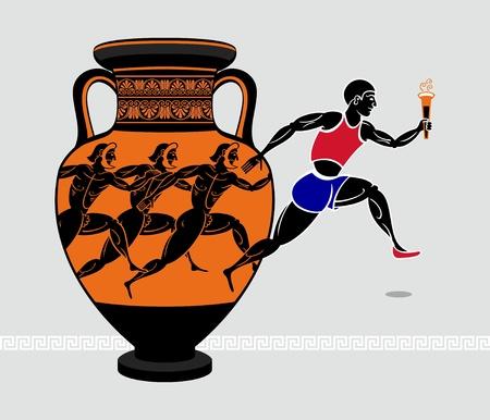 vasi greci: Correndo con una torcia dalla anfora greco antico