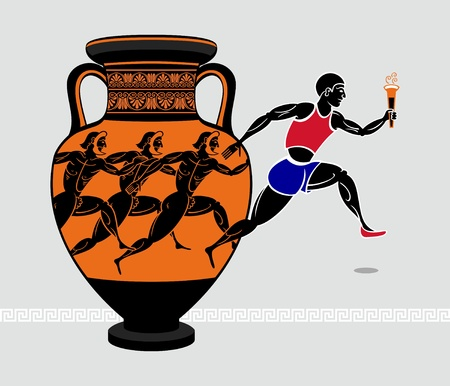 greek mythology: Running with a torch from the ancient greek amphora