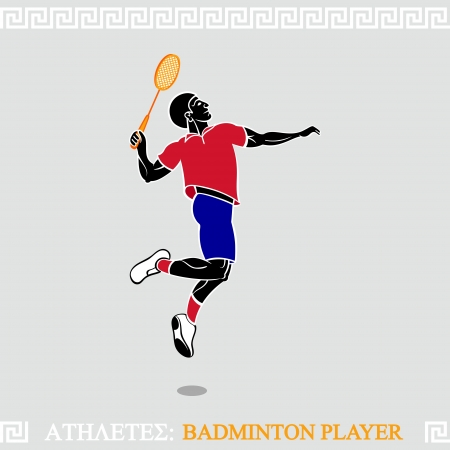 badminton: Greek art stylized badminton player jump