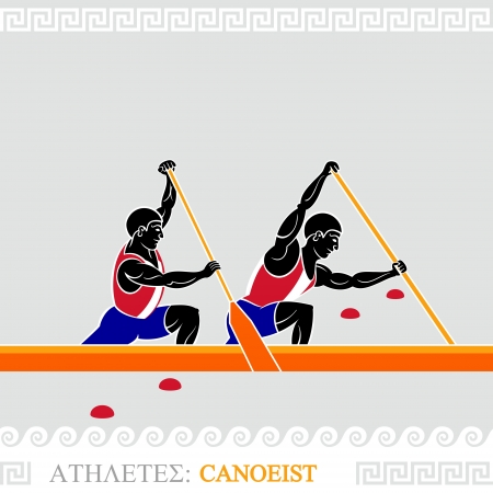tense: Greek art stylized canoe team at the competition