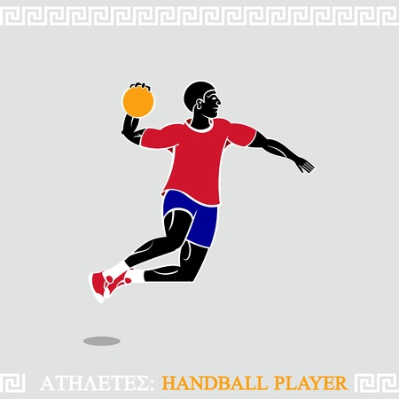 Greek art stylized handball player jump attack Vector
