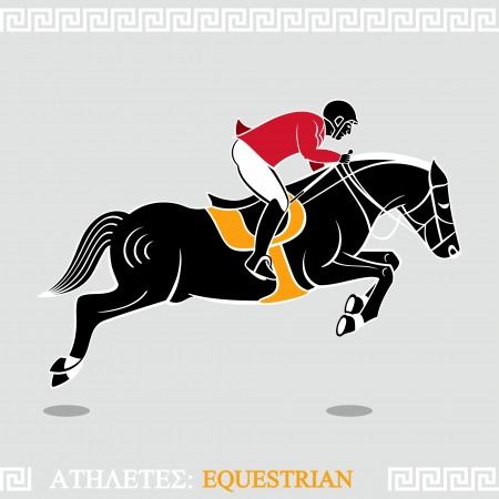horse show: Greek art stylized rider jumping with horse