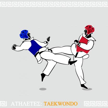 El arte griego estilizada combate de taekwondo