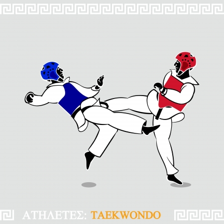 tae: Greek art stylized taekwondo sparring