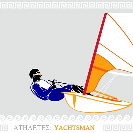yachtsman: Greek art stylized yachtsman