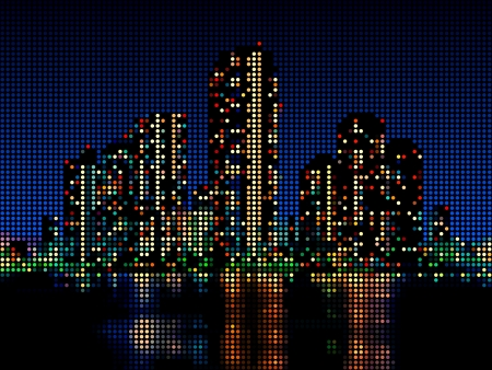 Modern skyscraper night cityscape made of color dots Vector