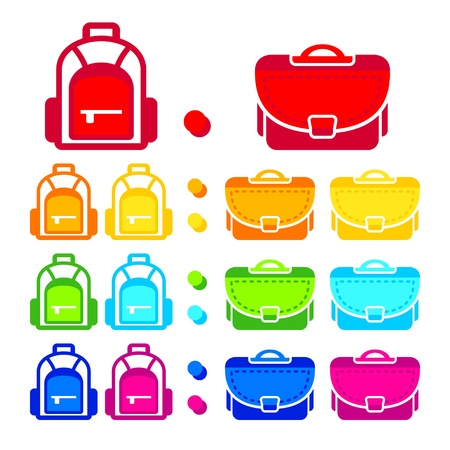 Rainbow colored school bag icons Vector