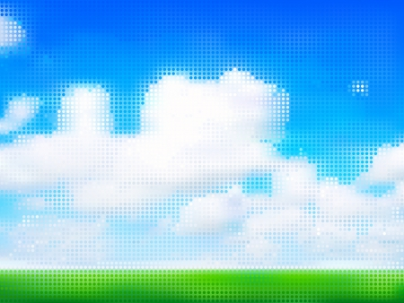 Cloudy dreamy sky over fields made of dots Vector