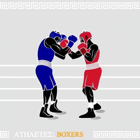 boxer: Greek art stylized boxers at the boxing ring Illustration