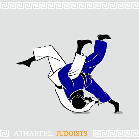grappling: Greek art stylized judoists at the competition