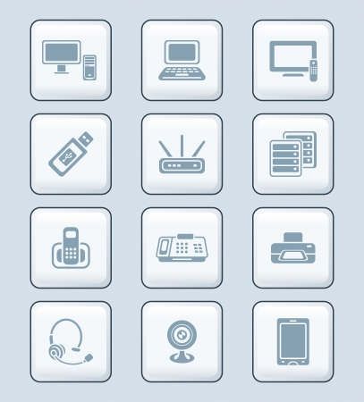 Modern office electronics gray icon-set Stock Vector - 13748367