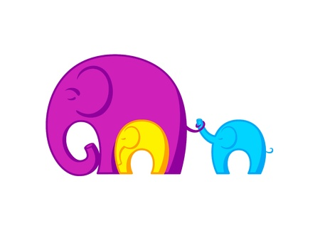 Resting Elephants family connected to each other Stock Vector - 13748371
