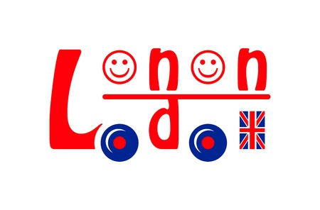 old english letters: London bus symbol made of letters, smileys and flag Illustration