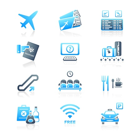 airplane ticket: Airport services and objects icon-set in blue-gray