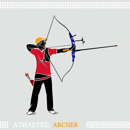 Greek art stylized archer with modern recurve bow Vector
