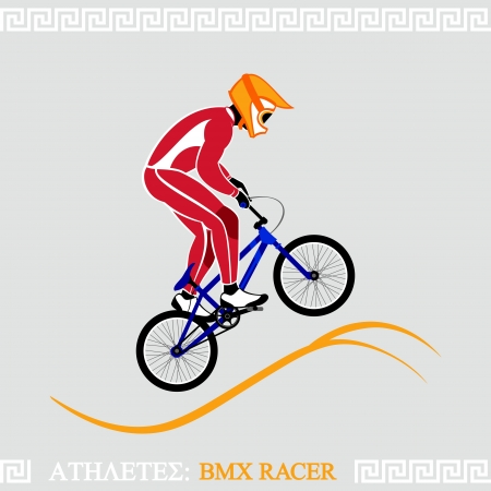 Greek art stylized BMX racer jumping on tracks Vector