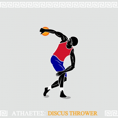 discus: Classic discus thrower pose in modern uniform