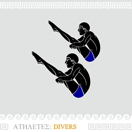 synchronized: Greek art stylized divers do synchronized jump