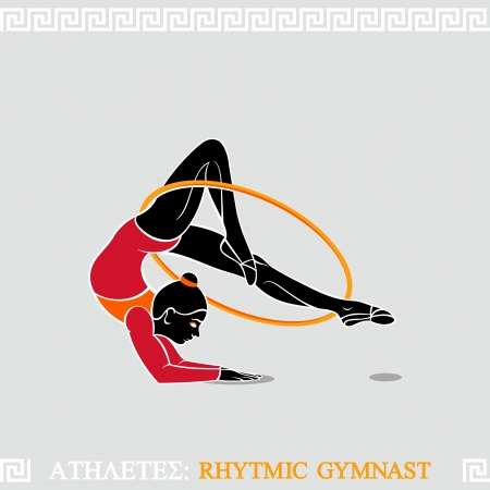 Greek art stylized arm-balanced gymnast with hoop Vector