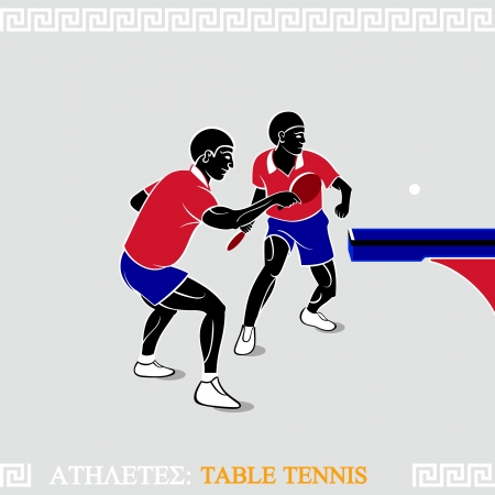 Greek art stylized table tennis players at the table corner Vector