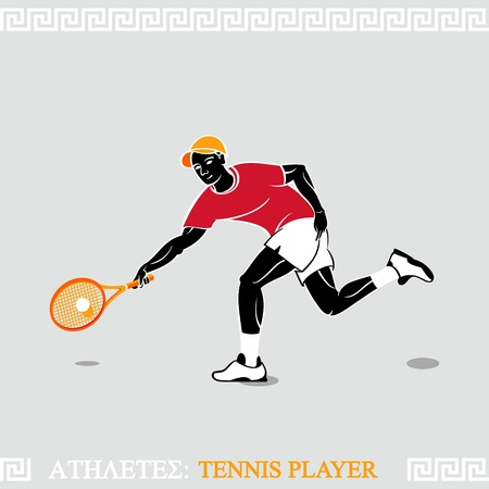 Greek art stylized tennis player hitting a ball Vector