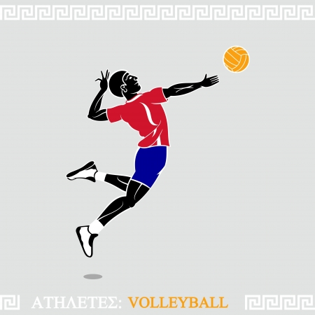 the air attack: Greek art stylized volleyball player jump attack