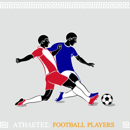 defenders: Greek art stylized football players fighting for a ball