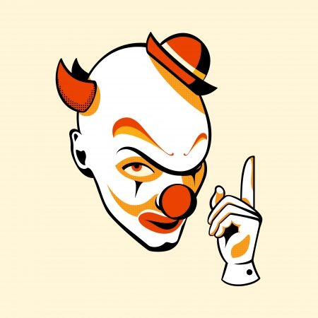 crazy: Clown head and hand in three color print halftone pattern