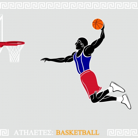 the air attack: Greek art stylized basketball player go slam dunk