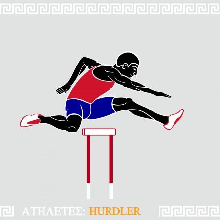 techniek: Griekse kunst gestileerde hordeloper fly over hindernissen Stock Illustratie